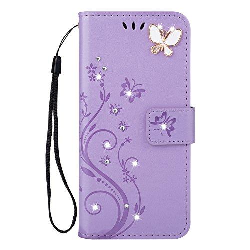 Karomenic kompatibel mit Samsung Galaxy A70 PU Leder Hülle Schmetterling Glänzend Glitzer Handyhülle Brieftasche TPU Silikon Schutzhülle Klapphülle Ledertasche Wallet Flip Case Etui,Hellviolett