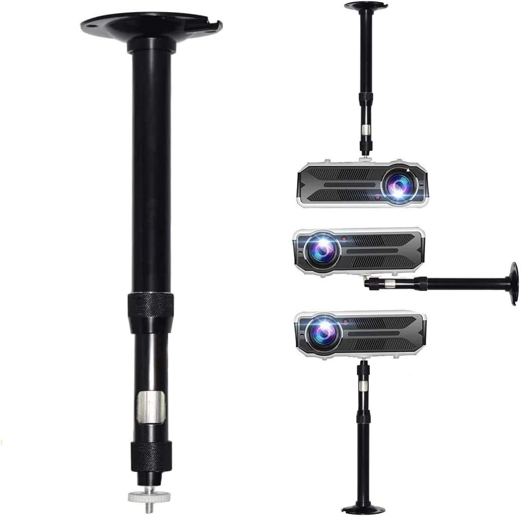 Universal Projector Mount Projector Ceiling/Wall Mount 12-17 inch Adjustable Height 360° Rotation Stainless Aluminium Alloy Cable Management Mini Projector CCTV DVR Camera Mount Black