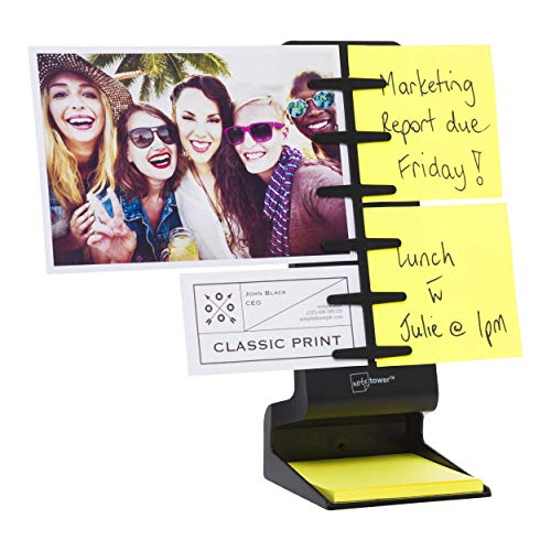 "Note Tower Desktop Mini Sticky Note Holder - Prevents Lost & Misplaced Sticky Notes, Displays up to 4 Photos, Includes 50 Sheets of 3"" x 3"" Sticky Notes, Easy One-Handed Paper Insertion, Black"