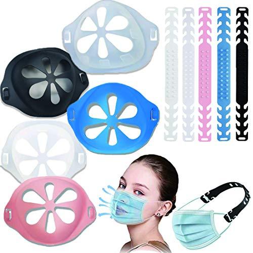 JiaHome Soporte de silicona 3D y ganchos de extensión ajustables, para proteger los labios, soporte nasal interno, reutilizable, lavable