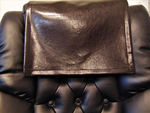 luvfabrics 14x30 Inch Dark Brown Houston Faux Leather Vinyl Sofa Loveseat Chaise Theater Seat, RV Cover, Chair Caps Headrest Pad, Recliner Head Cover, Furniture Protector