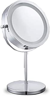 Mirrors with Lights 10x Magnifying Lighted Makeup Mirror Double Sided Round Magnifying Mirror Standing 360 Degree Swivel Vanity Mirror Battery Operated 7 Inch Diameter Shaving Bathroom Mirror 5CD1