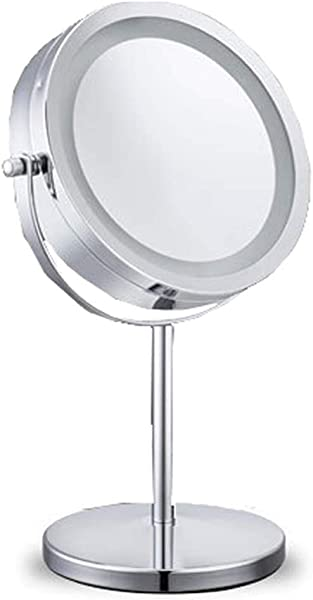 ACMM Mirrors With Lights 10x Magnifying Lighted Makeup Mirror Double Sided Round Magnifying Mirror Standing 360 Degree Swivel Vanity Mirror Battery Operated 7 Inch Diameter Shaving Bathroom Mirror