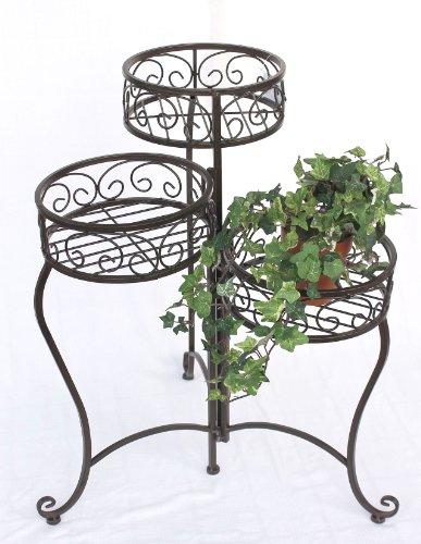 DanDiBo bloementrap metaal bruin rond 63 cm met 3 manden bloemenstandaard 12555 bijzettafel plantenstandaard bloemenzuil