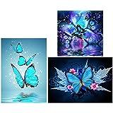 birdsunshine 3 Pack 5D Diamant Malerei Kit Schmetterling Full Diamond Painting Voller Stickerei Malerei für Home Wanddekoration 30 X 40cm