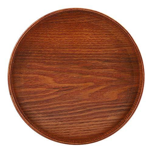 2 bandejas redondas de madera natural para servir té y comida, platos, bebidas, para el hogar o el hotel