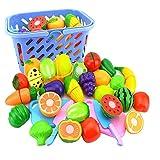Nikgic 23pcs Corte Juguete Plástico Frutas y Verduras Pizza Juguetes Eeducativos Set - para Niños Desarrollo Educación Alimentos Juguete de Cocina Set Estilo 19