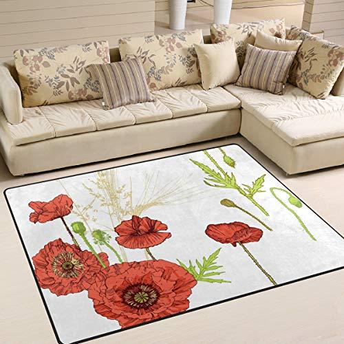 ALINLO Chinese kunst schilderij hibiscus boer gebied tapijt, antislip tapijt vloer deurmat voor binnen outdoor voordeur badkamer matten huisdecoratie, 4' x 5'3''