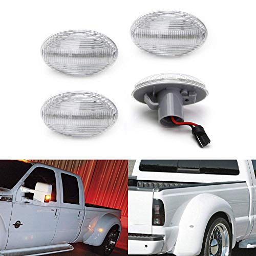 iJDMTOY Clear Lens Amber/Red Full LED Trunk Bed Marker Lights Set Compatible...
