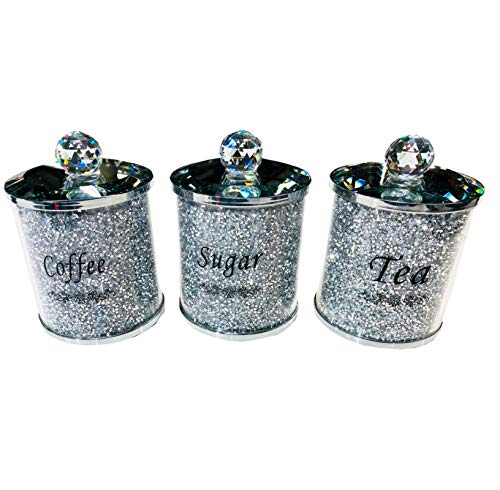 TOV® Diamond Crushed Tea Coffee Sugar CANISTERS Jars Storage Silver Trimmings Crystal Filled (Silver/Silver)