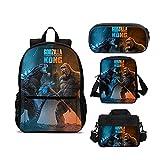 Juego de mochila Godzilla vs. King Kong de 4 piezas, bolsa escolar, fiambrera, bolso bandolera, estuche para niños, mochila de viaje (14)