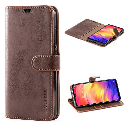 Mulbess Handyhülle für Xiaomi Redmi Note 7 Hülle, Leder Flip Case Schutzhülle für Xiaomi Redmi Note 7 Pro Tasche, Vintage Braun