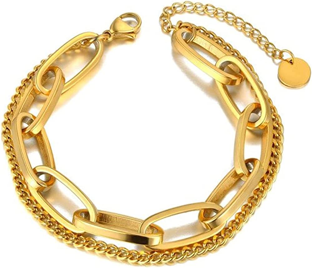 Bohemia Chain & Link Bracelet, Stainless Steel Geometry Charm Gold Color Bracelet Bangle, Jewelry Come Gift Box, Women Girls Motivational Birthday