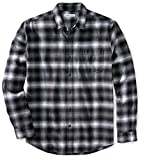 Amazon Essentials - Camisa de franela a cuadros de manga larga y ajuste regular para hombre, Negro (Black Ombre Plaid),...