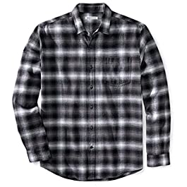 Amazon Essentials Men's Standard Regular-Fit Long-Sleeve Plaid Flannel Shirt