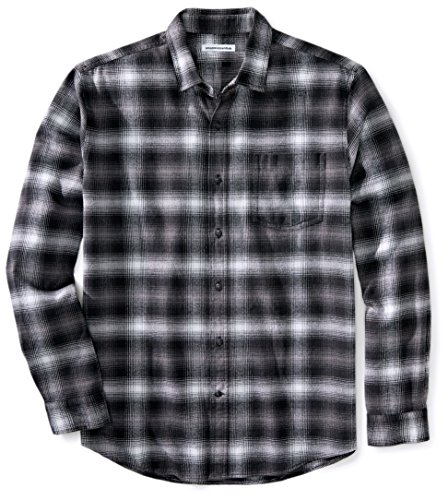 Amazon Essentials - Camisa de franela a cuadros de manga larga y ajuste regular para hombre, Negro (Black Ombre Plaid), US S (EU S)
