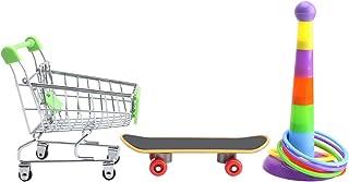 Balacoo 3 stycken i 1 set papegojleksak – papegoja träningsleksak leksak mini shoppingvagn/träningsring/skateboardstativ