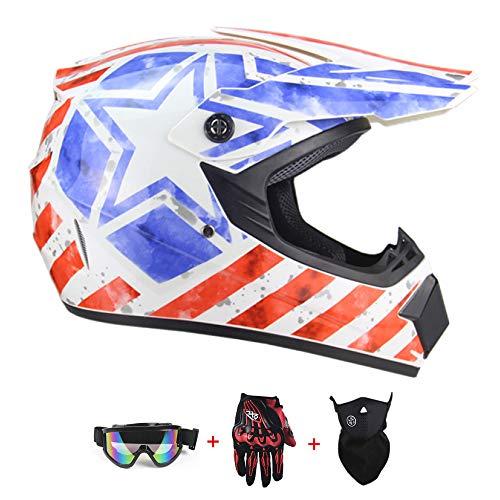 ZYWW Cascos para Motocicletas para Niños Motocicletas para Niños Cascos De Fondo (Gafas, Máscaras, Guantes) Certificación De Seguridad Dot/ECE,White Flag,L