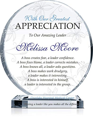 Personalized Boss Appreciation Gift Plaque for Woman, Customized with...