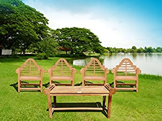 Windsor's Lutyens Premium Grade A Teak 5Pc Set, from Indonesian Plantations, 4 Chairs 36