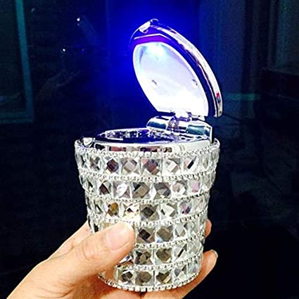 Kiwilife Auto Aschenbecher Mit Diamant Bling Effekt Mit Blauem Led Licht Rauchfreier Ständer Zylinderförmiger Getränkehalter Schwarz Baumarkt