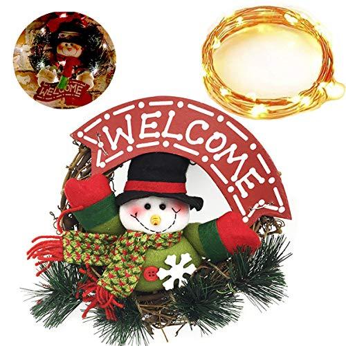 dancepandas Corona di Natale Ghirlanda Natalizia per Porta Esterno Pupazzi di Neve Ghirlanda di Rattan Decorativa da Appendere alla Porta o alla Parete, illuminata da 10 LED
