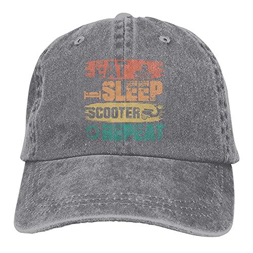Gymini Eat Sleep Scooter Repeat Scooters Sombreros Algodón Lavable Gorras De Béisbol Ajustable Para Hombre Mujer Gris