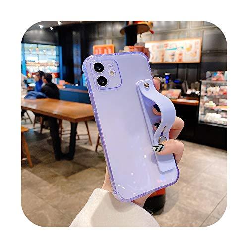 Correa de muñeca transparente para iPhone 12 Pro 11 Pro Max XR XS Max X 7 8 Plus 12Mini Color Suave TPU Soporte Soporte Cubierta Trasera-T5-Para iPhone 12Pro Max