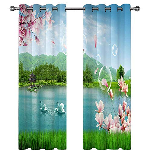 Michance 3D Landscape Painting Printing Curtain Fashion All-Match Curtains Suitable For Curtains For Balcony, Kitchen, Garden 2 Pieces