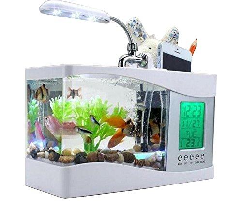 Anself, mini-USB-LCD-bureaulamp met LED-licht, aquarium en klok, wit, met 6 modi van Natur-Sound, aquarium Ornament Wit.