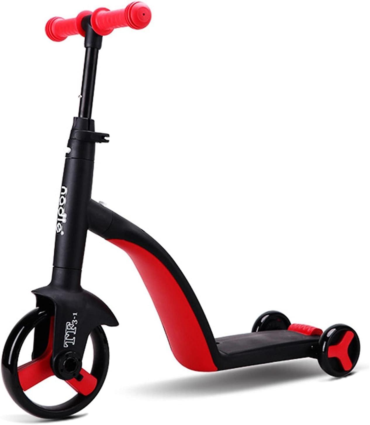 WFF Patada Scooters 3-en-1 Kick Scooter/Balance Bike/Tricycle Indoor/Outdoor Play-on Bike Multifuncional 3 Ruedas para Niños De 3 A 8 Años Sistema de Plegado de liberación rápida (Color : Red)