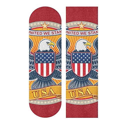 LMFshop 33,1x9,1 Zoll Sport Outdoor Skateboard Schleifpapier Amerikanischen Independent Day Symbol Adler Druck wasserdichte Lustige Skateboard Grip Tape Für Tanzbrett Doppel Rocker Board Deck 1 Blatt