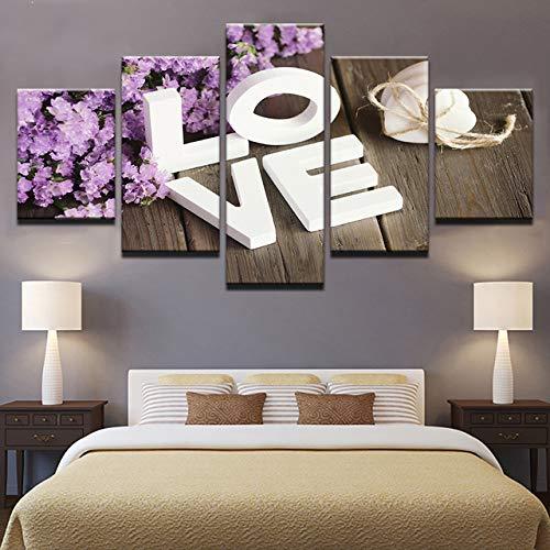 Hd gedrukt schilderij op canvas 5 stuks groene plant bloemen letters schilderen patroon wooncultuur poster frame woonkamer 30x40cmx2 30x60cmx2 30x80cmx1