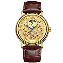 Stainless steel watch case and leather band makes the watch more durable Round Dial Hollow Dial,Skeleton Design Life waterproof,use to wash hand without hot/warm water,can't take shower, bath, swim Precise time keeping:Automatic Self-Wind, provide pr...