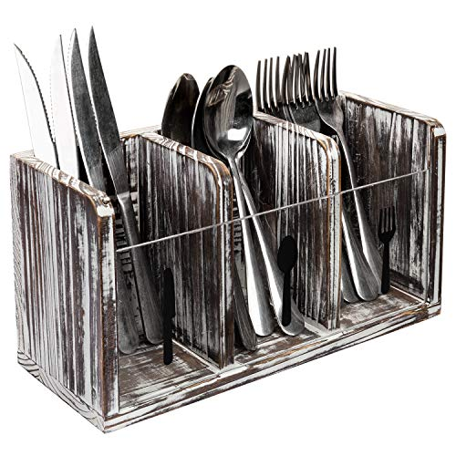 MyGift 3 Slot Rustic Torched Wood Dining Utensils Holder Flatware Caddy Organizer Box with Clear Acrylic Fork Spoon and Knife Labels