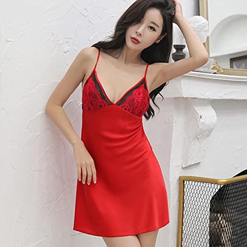 CHBY Ropa erótica de Mujer Ropa erótica Sexy Sling Camisón Mujer Ropa de Dormir Camisón de Encaje para Adultos Servicio a Domicilio de Seda Falda Corta-Vino Rojo_L
