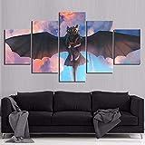 5 piezas cuadro en lienzo Cuadro compuesto por 5 lienzos impresos en HD, utilizados para decoración del hogar y carteles Dibujos animados de cómo entrenar a tu dragón sin dientes (150x80cm sin marco)
