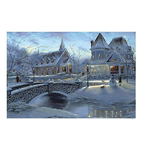 NOBRAND txtnt Rompecabezas Grandes de 1000 Piezas para Adultos y niños Decoraciones y Regalos clásicos únicos para el hogar Escena de Nieve