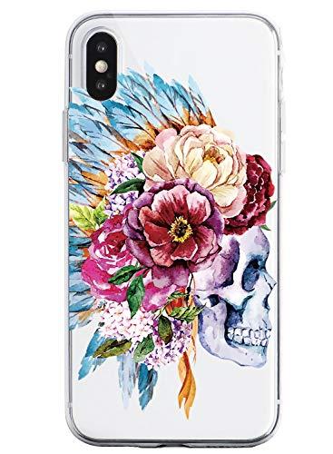 Oihxse Clair Crystal Soft Silicone Compatible pour iPhone 7 Plus/iPhone 8 Plus Coque Transparente TPU Crâne Rose Motif Design Housse Ultra Mince Protection Antichoc Etui(E6)