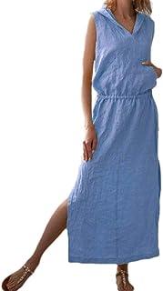 neveraway Women Linen Tunic Hood Casual Pure Colour Fashion Full Length Dress