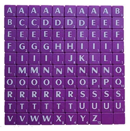 Trimming Shop Azulejos de plástico morado con letras blancas y números para manualidades y álbumes de recortes, juegos de mesa de repuesto y joyas (1,9 cm, morado, 100 unidades)