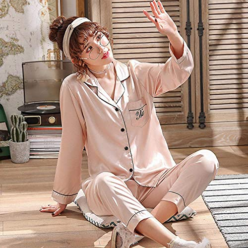 Living Room AccessoriesPajama set,Leopard Pyjamas Women Stripe Satin Pajamas Sets New Spring Long Sleeve 2 Pcs Suit Casual Silk Home Clothing Sleepwear,Style D,M