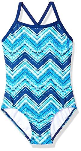 Kanu Surf Girls' Big Layla Beach Sport Banded 1 Piece Swimsuit, Kirsten Blue Chevron, 12