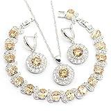 GZJY Women Champagne Round Cut Drop Earrings Pendant Necklace CZ Bracelet Jewelry Set