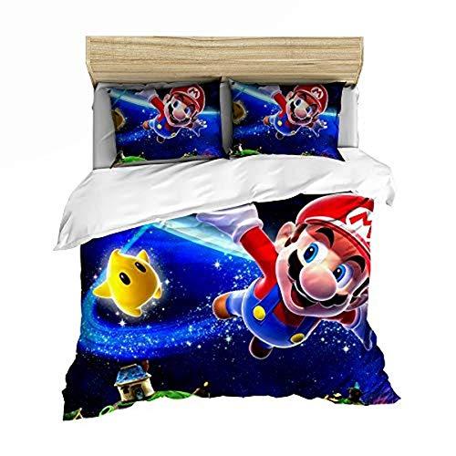 QWAS Super Mario Bros. Funda nórdica de dibujos animados de anime, muy suave y cómoda, para decorar el espacio (A03,220 x 240 cm + 50 x 75 cm x 2)