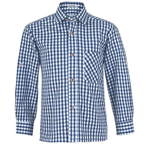 Isar-Trachten Kinder Hemd | Hemd kariert Gute Passform | Kinderhemd aus Baumwolle (Marine, 116)
