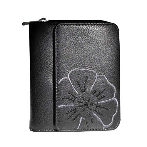 Branco Leder - sehr feine Leder Damen Geldbörse, Portemonnaie, Ladys Wallet mit aufgesticktem Blumen Motiv verfügbar - präsentiert von ZMOKA® (Schwarz)