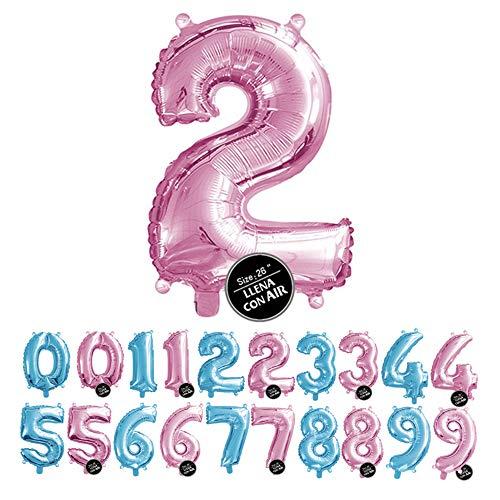 Haioo Globo Número de Cumpleaños en Metalizado Ideal para Fiesta de cumpleaños y Aniversarios Hinchable y Deshinchable (Rosa 2)