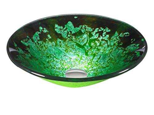 FEN Grand Chapeau le long du Doré et Argenté Soie Vert en verre trempé Lavabo chaud européens et américains Pots de table de luxe Lavabo T12 * ? 450 * H145 mm