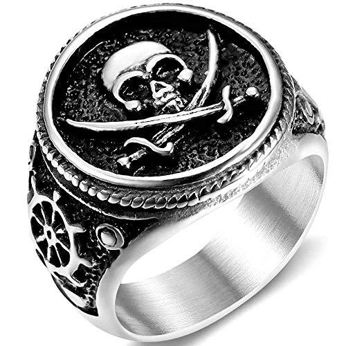 Jude Jewelers Anillo de acero inoxidable antiguo con diseño de calavera pirata de la muerte, Halloween, cóctel, fiesta, motorista